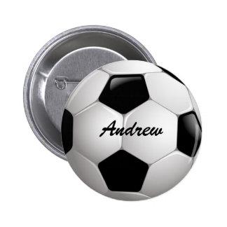 Customizable Football Soccer Ball Pinback Button
