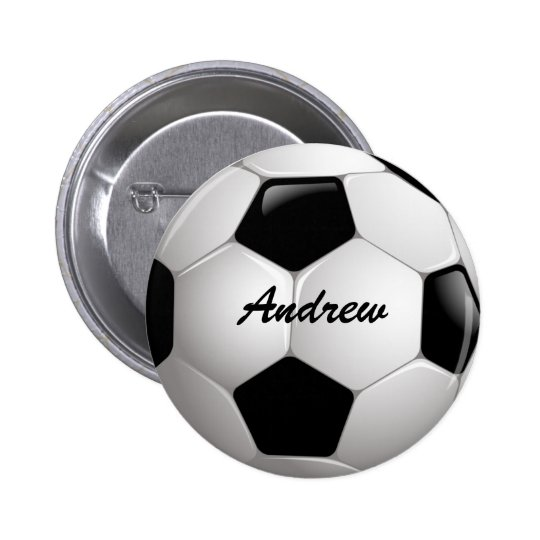 Customizable Football Soccer Ball Pinback Button