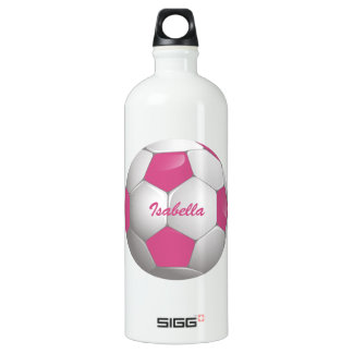 Customizable Football Soccer Ball Pink and White Aluminum Water Bottle