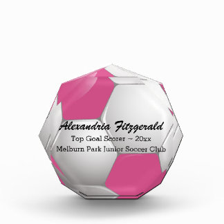 Customizable Football Soccer Ball Pink and White Awards