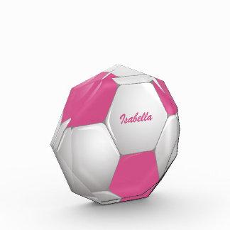 Customizable Football Soccer Ball Pink and White Award