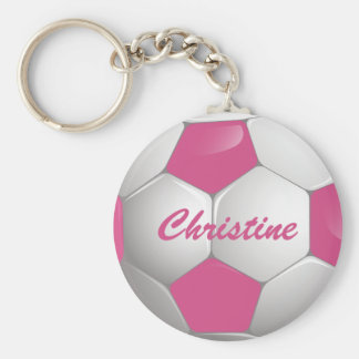 Customizable Football Soccer Ball Pink and White Basic Round Button Keychain