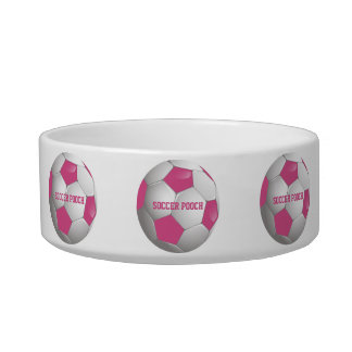 Customizable Football Soccer Ball Pink and White Bowl