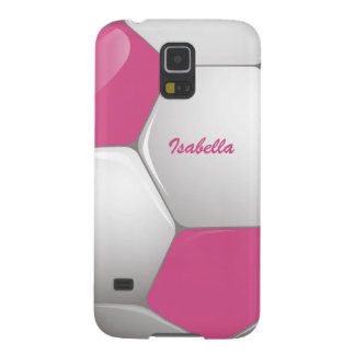 Customizable Football Soccer Ball Pink and White Galaxy S5 Covers