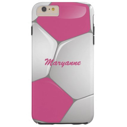 Customizable Football Soccer Ball Pink and White Tough iPhone 6 Plus Case