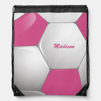 Customizable Football Soccer Ball Pink and White Drawstring Backpack