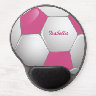 Customizable Football Soccer Ball Pink and White Gel Mouse Pad
