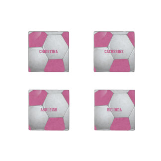 Customizable Football Soccer Ball Pink and White Stone Magnet