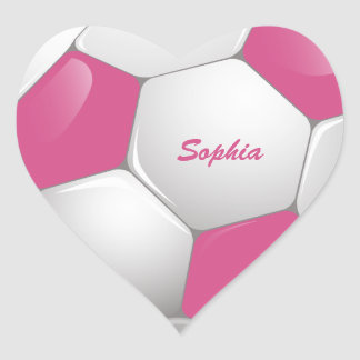 Customizable Football Soccer Ball Pink and White Heart Sticker