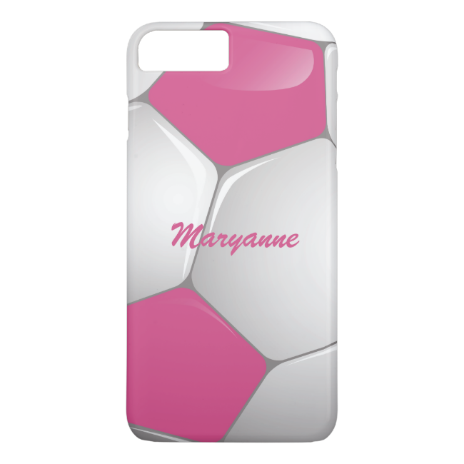 Customizable Football Soccer Ball Pink and White iPhone 7 Plus Case