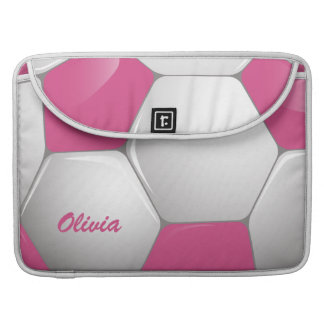 Customizable Football Soccer Ball Pink and White MacBook Pro Sleeves