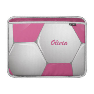 Customizable Football Soccer Ball Pink and White MacBook Sleeves