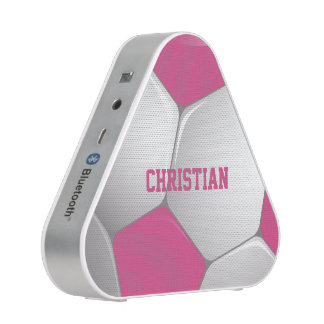 Customizable Football Soccer Ball Pink and White Bluetooth Speaker