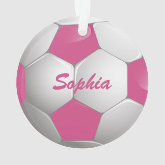Customizable Football Soccer Ball Pink and White Ornament