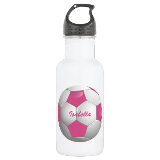 Customizable Football Soccer Ball Pink and White 18oz Water Bottle