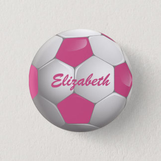 Customizable Football Soccer Ball Pink and White Pinback Button