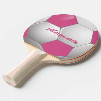 Customizable Football Soccer Ball Pink and White Ping-Pong Paddle