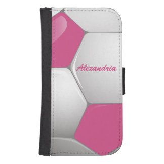 Customizable Football Soccer Ball Pink and White Galaxy S4 Wallets