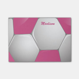 Customizable Football Soccer Ball Pink and White Post-it Notes