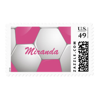Customizable Football Soccer Ball Pink and White Postage Stamp