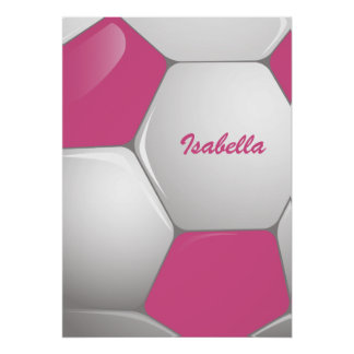 Customizable Football Soccer Ball Pink and White Poster