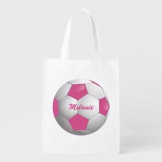 Customizable Football Soccer Ball Pink and White Reusable Grocery Bag