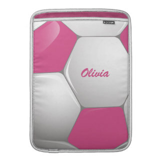 Customizable Football Soccer Ball Pink and White Sleeve For MacBook Air