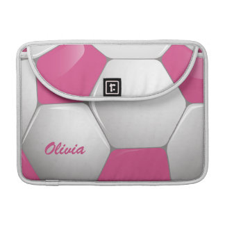 Customizable Football Soccer Ball Pink and White Sleeves For MacBooks