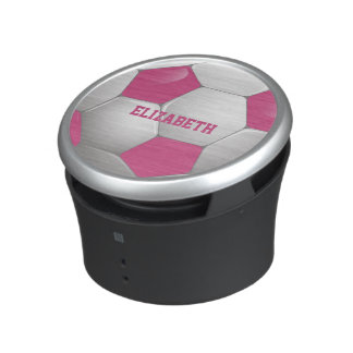 Customizable Football Soccer Ball Pink and White Speaker