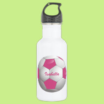 Customizable Football Soccer Ball Pink and White Stainless Steel Water Bottle