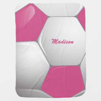 Customizable Football Soccer Ball Pink and White Stroller Blanket