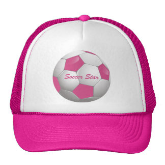Customizable Football Soccer Ball Pink and White Trucker Hat