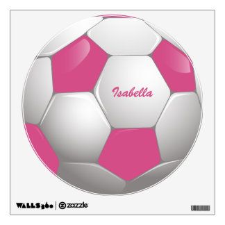 Customizable Football Soccer Ball Pink and White Wall Stickers