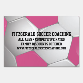 Customizable Football Soccer Ball Pink and White Yard Sign