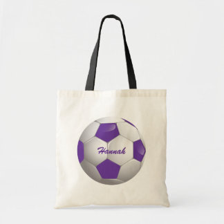 Customizable Football Soccer Ball Purple and White Tote Bags