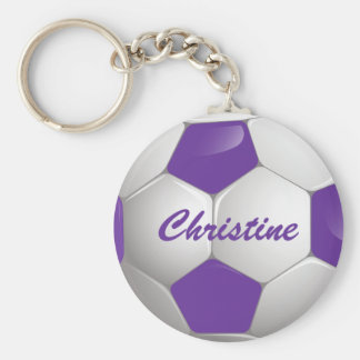 Customizable Football Soccer Ball Purple and White Basic Round Button Keychain