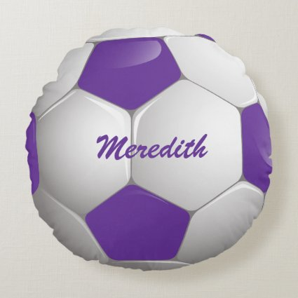 Customizable Football Soccer Ball Purple and White Round Pillow