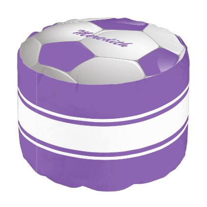 Customizable Football Soccer Ball Purple and White Round Pouf