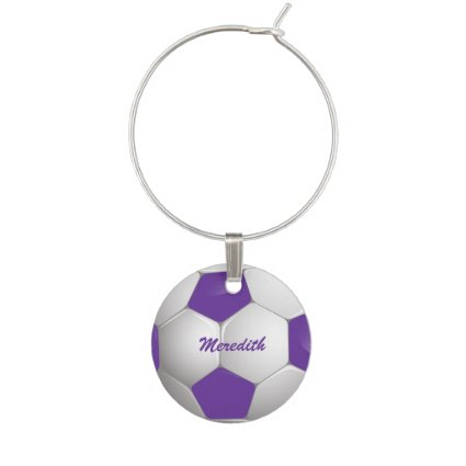 Customizable Football Soccer Ball Purple and White Wine Glass Charms