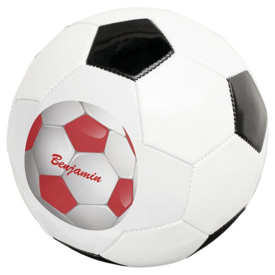 Customizable Football Soccer Ball Red and White