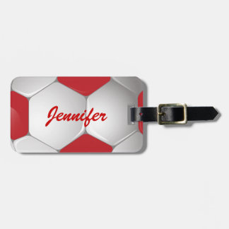 Customizable Football Soccer Ball Red and White Bag Tag