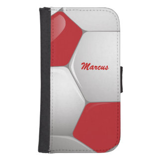 Customizable Football Soccer Ball Red and White Phone Wallet Cases
