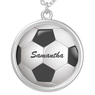 Customizable Football Soccer Ball Round Pendant Necklace