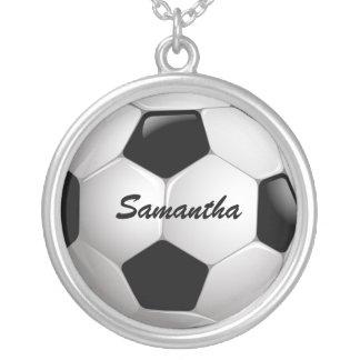 Customizable Football Soccer Ball Round Pendant Necklace