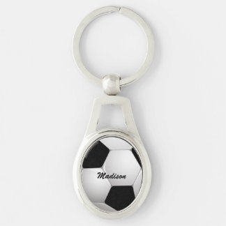 Customizable Football Soccer Ball Silver-Colored Oval Metal Keychain