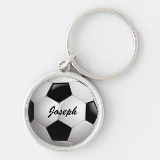 Customizable Football Soccer Ball Silver-Colored Round Keychain