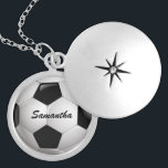 """Customizable Football Soccer Ball Silver Plated Necklace<br><div class=""""desc"""">Soccer sports design with a close up image of a soccer ball, fully customizable with your own name or text. Perfect for the soccer player, football fan or soccer coach. Other color combinations are available in our store and we welcome custom requests, just contact us through our GiftsBonanza store prior...</div>"""