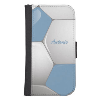 Customizable Football Soccer Ball Sky Blue | White Galaxy S4 Wallet