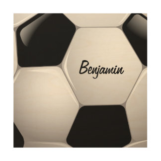Customizable Football Soccer Ball Wood Wall Decor