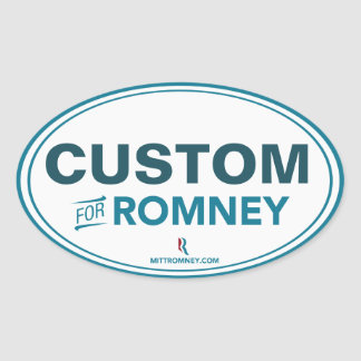 CUSTOMIZABLE For Romney Oval Sticker White / Blue